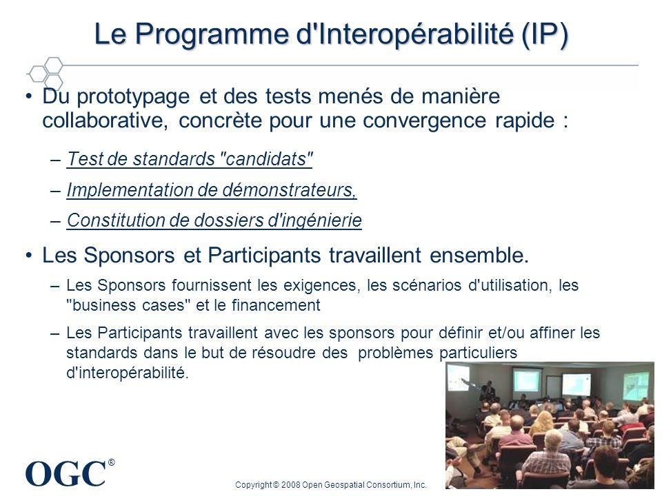 OGC ® Copyright © 2008 Open Geospatial Consortium, Inc. 99 Le Programme d'Interopérabilité (IP) Du prototypage et des tests menés de manière collabora