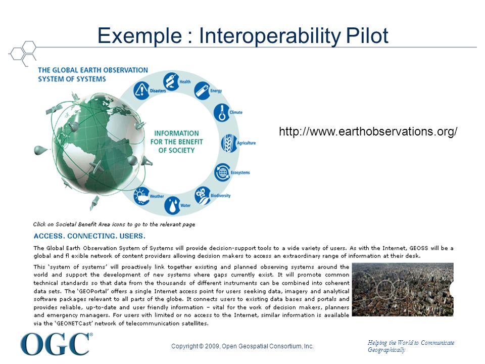 Helping the World to Communicate Geographically http://www.earthobservations.org/ Exemple : Interoperability Pilot Copyright © 2009, Open Geospatial Consortium, Inc.