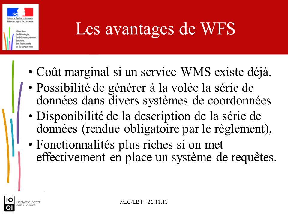 MIG/LBT - 21.11.11 Les avantages de WFS Coût marginal si un service WMS existe déjà. Possibilité de générer à la volée la série de données dans divers