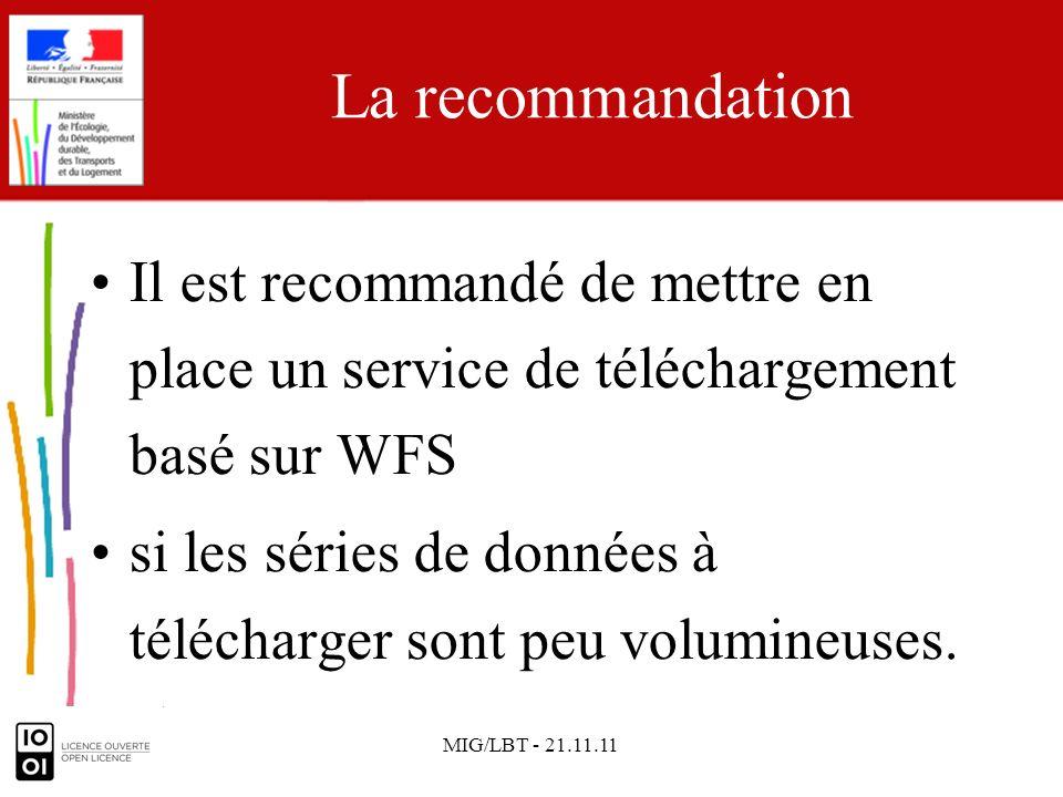 MIG/LBT - 21.11.11 La recommandation Il est recommandé de mettre en place un service de téléchargement basé sur WFS si les séries de données à télécha