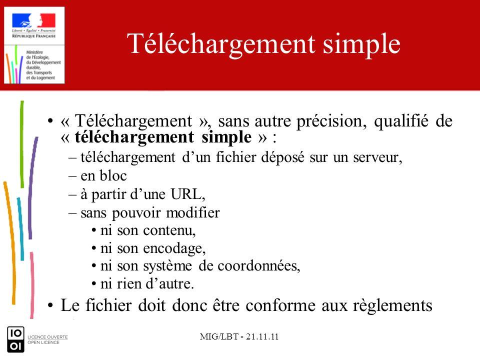 MIG/LBT - 21.11.11 Pour le téléchargement simple Les métadonnées du service de téléchargement = celles de la série de données à télécharger.