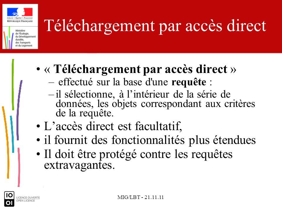 MIG/LBT - 21.11.11 Téléchargement par accès direct : les services recommandés Le guide technique des services de téléchargement recommande :guide technique des services de téléchargement –le service WFS (ISO 19142); –avec le service filter encoding (FE), (ISO 19143), pour la gestion des requêtes.