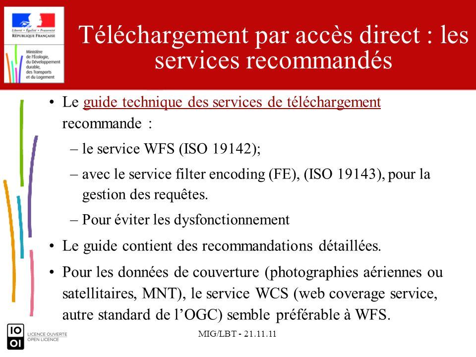 MIG/LBT - 21.11.11 Les avantages de WFS Coût marginal si un service WMS existe déjà.