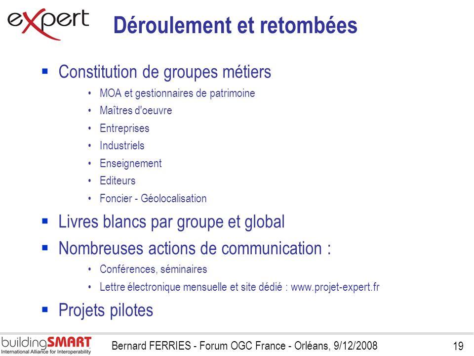 19 Bernard FERRIES - Forum OGC France - Orléans, 9/12/2008 Déroulement et retombées Constitution de groupes métiers MOA et gestionnaires de patrimoine