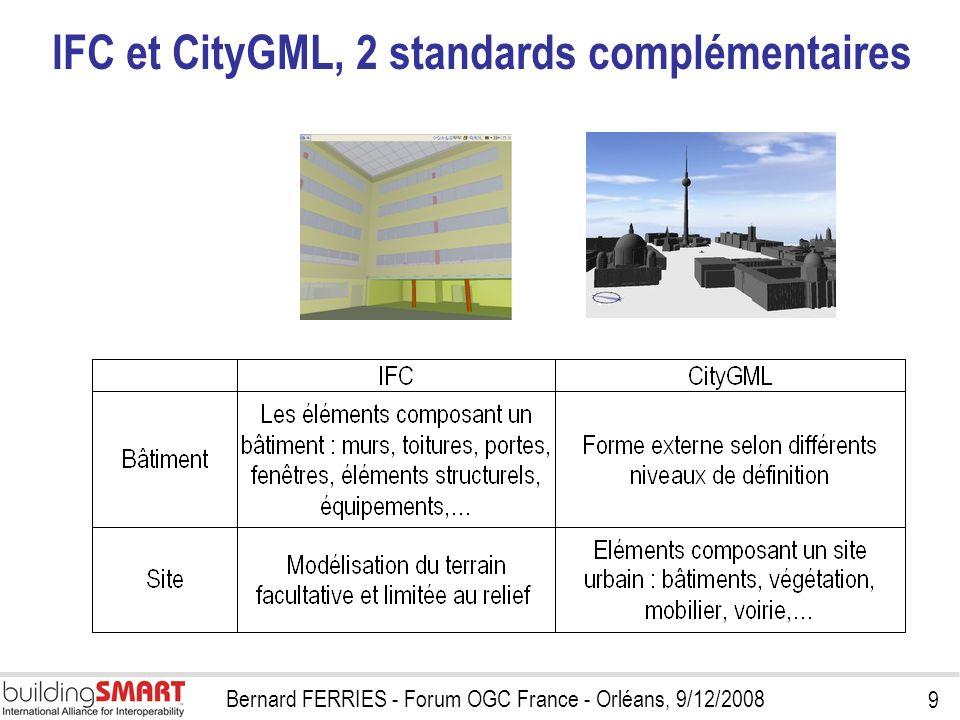 9 Bernard FERRIES - Forum OGC France - Orléans, 9/12/2008 IFC et CityGML, 2 standards complémentaires