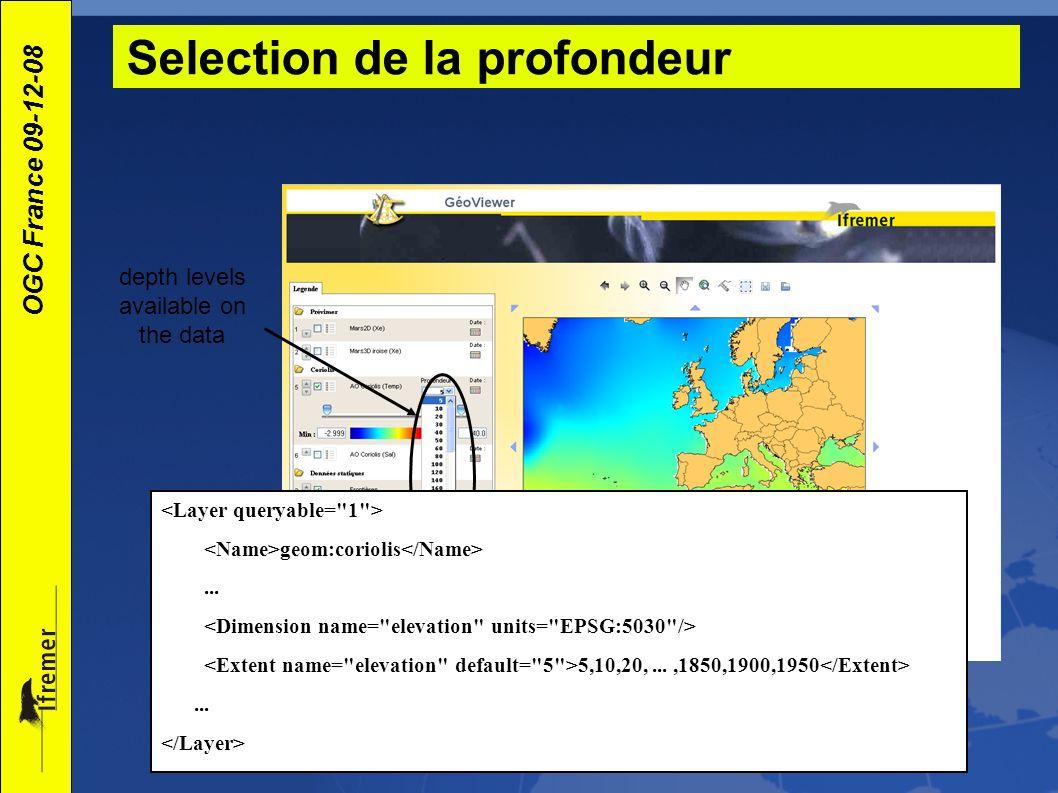 OGC France 09-12-08 Selection de la profondeur depth levels available on the data geom:coriolis... 5,10,20,...,1850,1900,1950...