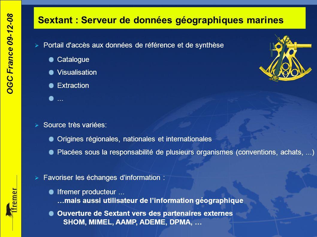 OGC France 09-12-08 Sextant : Serveur de données géographiques marines Portail d'accès aux données de référence et de synthèse Catalogue Visualisation