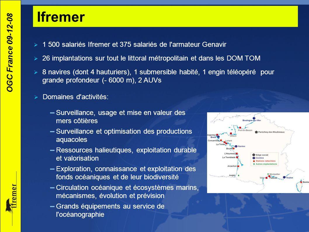 OGC France 09-12-08 Les types de données Coriolis et Banque de physique/chimie marines systèmes d observations opérationnels et données des campagnes scientifiques Quadrige² : Environnement côtier hydrologie littorale, plancton, contaminants,...