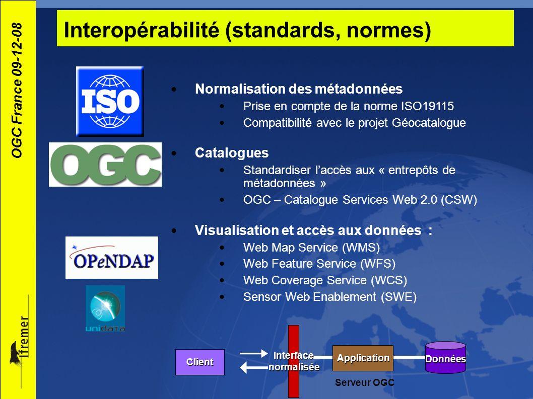 OGC France 09-12-08 Visualisation et accès aux données In-situ data (buoys, piers, ships) Gridded data (model outputs, satellite) OGC Sensor Observation Service (SOS) OpenDAP et/ou OGC Web Coverage Service (WCS) XML based on OGC Observations et Measurements (O&M) NetCDF using Climate and Forecast (CF) conventions OGC Web Map Service (WMS) GeoTIFF, PNG etc.