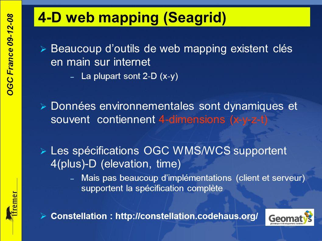OGC France 09-12-08 Beaucoup doutils de web mapping existent clés en main sur internet La plupart sont 2-D (x-y) Données environnementales sont dynami