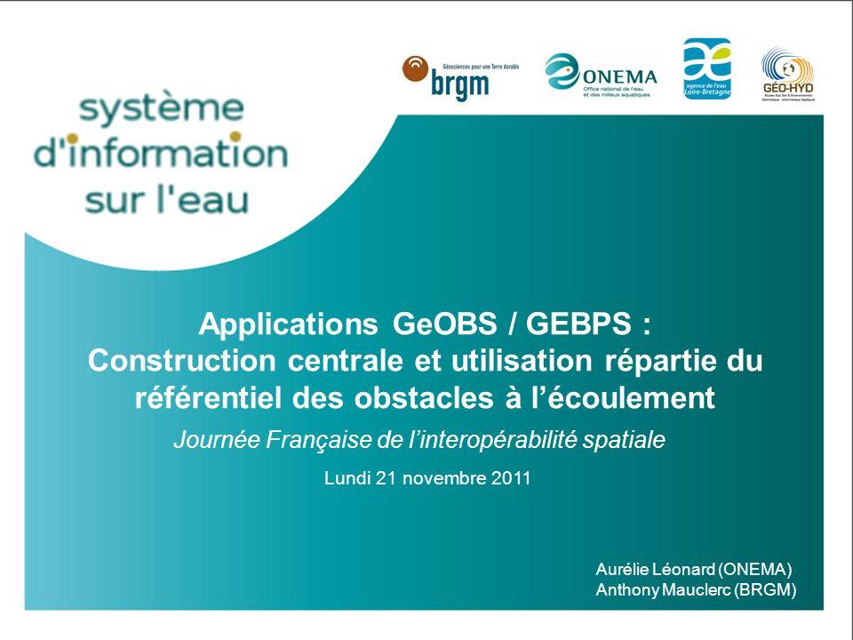 Besoins GeBPS (1/2) Besoins : Mise à disposition du référentiel en temps réel + Conservation et gérer leur base «Obstacles» locale avec leurs partenaires locaux adaptation et utilisation dun outil en cours de développement : GEBPS® (Gestionnaire Base Partenaires Seuils) Journée française de linteropérabilité spatiale 21/11/11 12