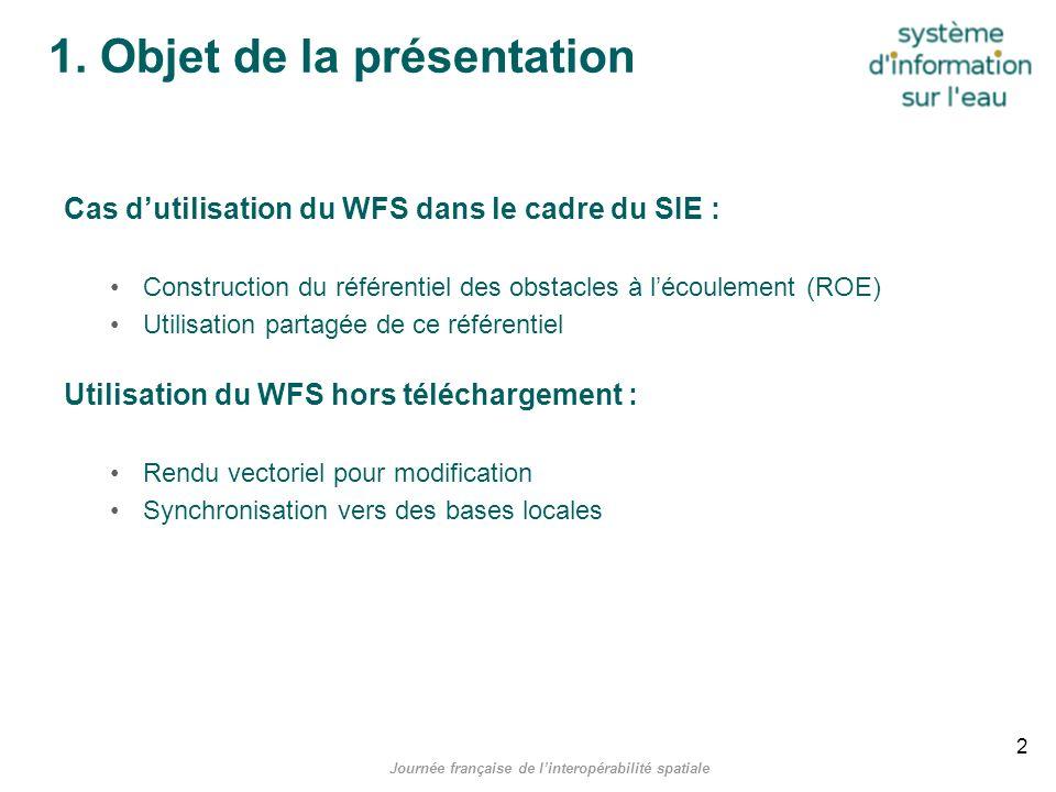 Journée française de linteropérabilité spatiale 1. Objet de la présentation Cas dutilisation du WFS dans le cadre du SIE : Construction du référentiel