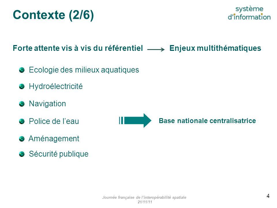 Travail initial Recenser les données existantes (+ de 60 000 obstacles) Contexte (3/6) Journée française de linteropérabilité spatiale 21/11/11 5