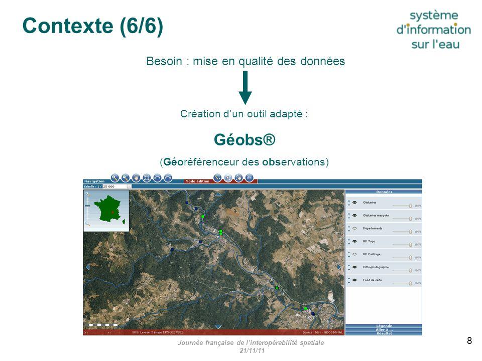 Création dun outil adapté : Géobs® (Géoréférenceur des observations) Besoin : mise en qualité des données Journée française de linteropérabilité spati