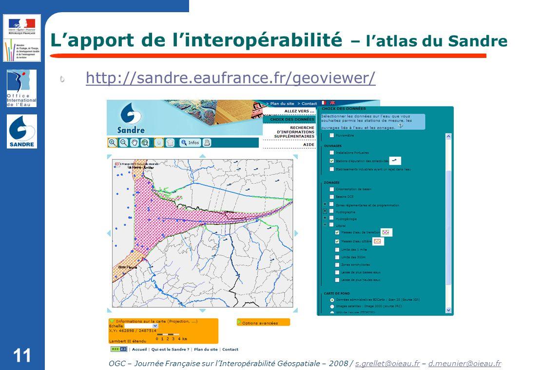 OGC – Journée Française sur lInteropérabilité Géospatiale – 2008 / s.grellet@oieau.fr – d.meunier@oieau.frs.grellet@oieau.frd.meunier@oieau.fr 11 http