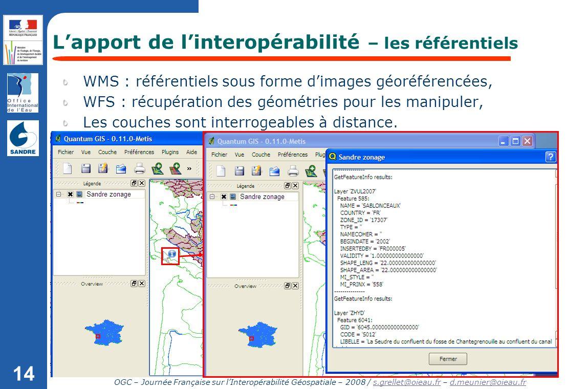 OGC – Journée Française sur lInteropérabilité Géospatiale – 2008 / s.grellet@oieau.fr – d.meunier@oieau.frs.grellet@oieau.frd.meunier@oieau.fr 14 WMS