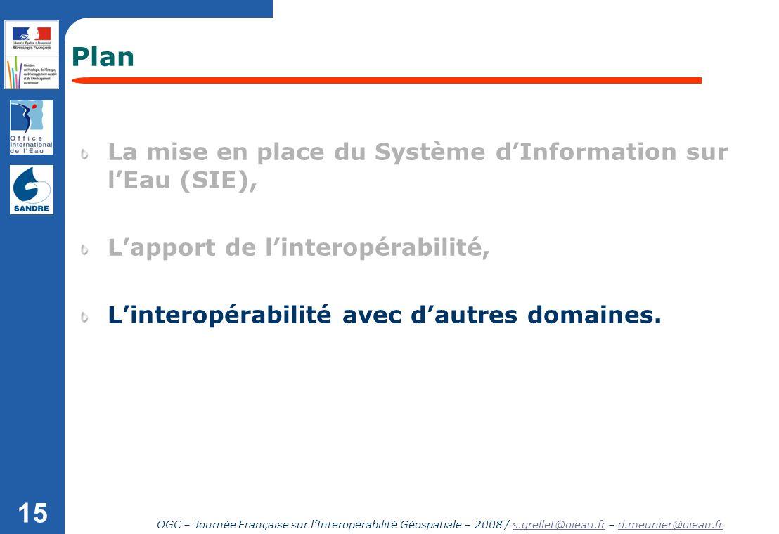 OGC – Journée Française sur lInteropérabilité Géospatiale – 2008 / s.grellet@oieau.fr – d.meunier@oieau.frs.grellet@oieau.frd.meunier@oieau.fr 15 Plan
