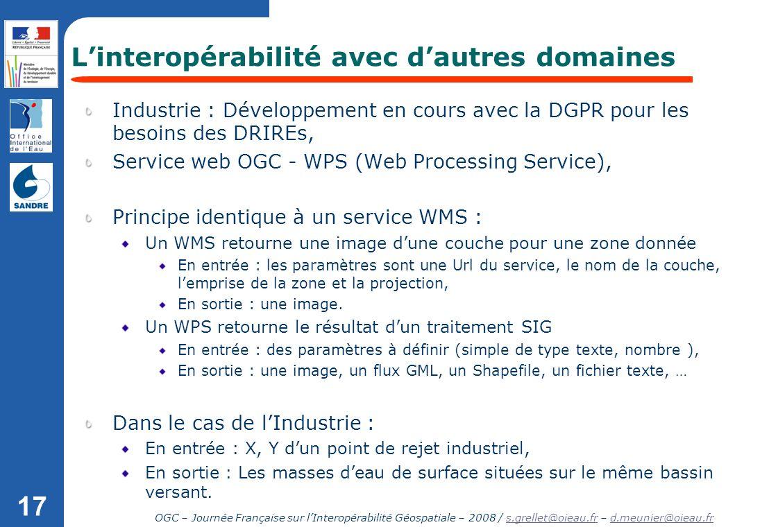 OGC – Journée Française sur lInteropérabilité Géospatiale – 2008 / s.grellet@oieau.fr – d.meunier@oieau.frs.grellet@oieau.frd.meunier@oieau.fr 17 Indu
