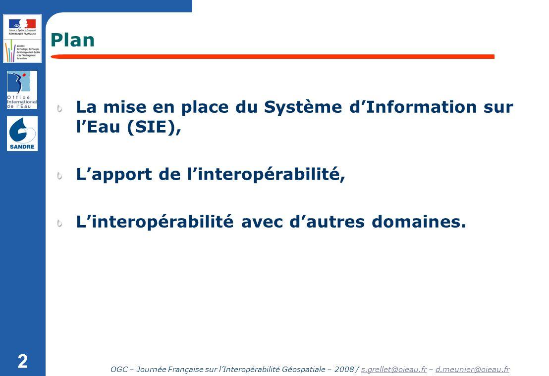 OGC – Journée Française sur lInteropérabilité Géospatiale – 2008 / s.grellet@oieau.fr – d.meunier@oieau.frs.grellet@oieau.frd.meunier@oieau.fr 2 Plan