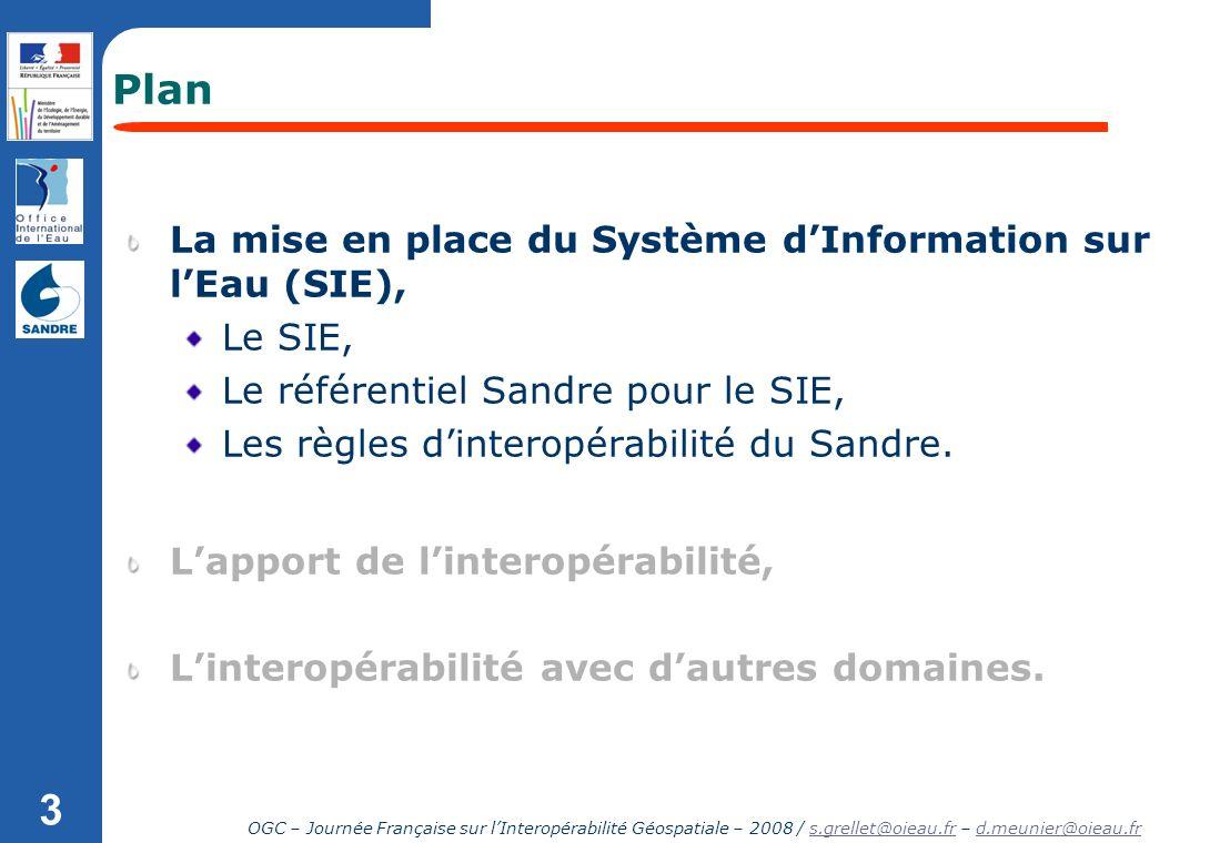 OGC – Journée Française sur lInteropérabilité Géospatiale – 2008 / s.grellet@oieau.fr – d.meunier@oieau.frs.grellet@oieau.frd.meunier@oieau.fr 3 Plan
