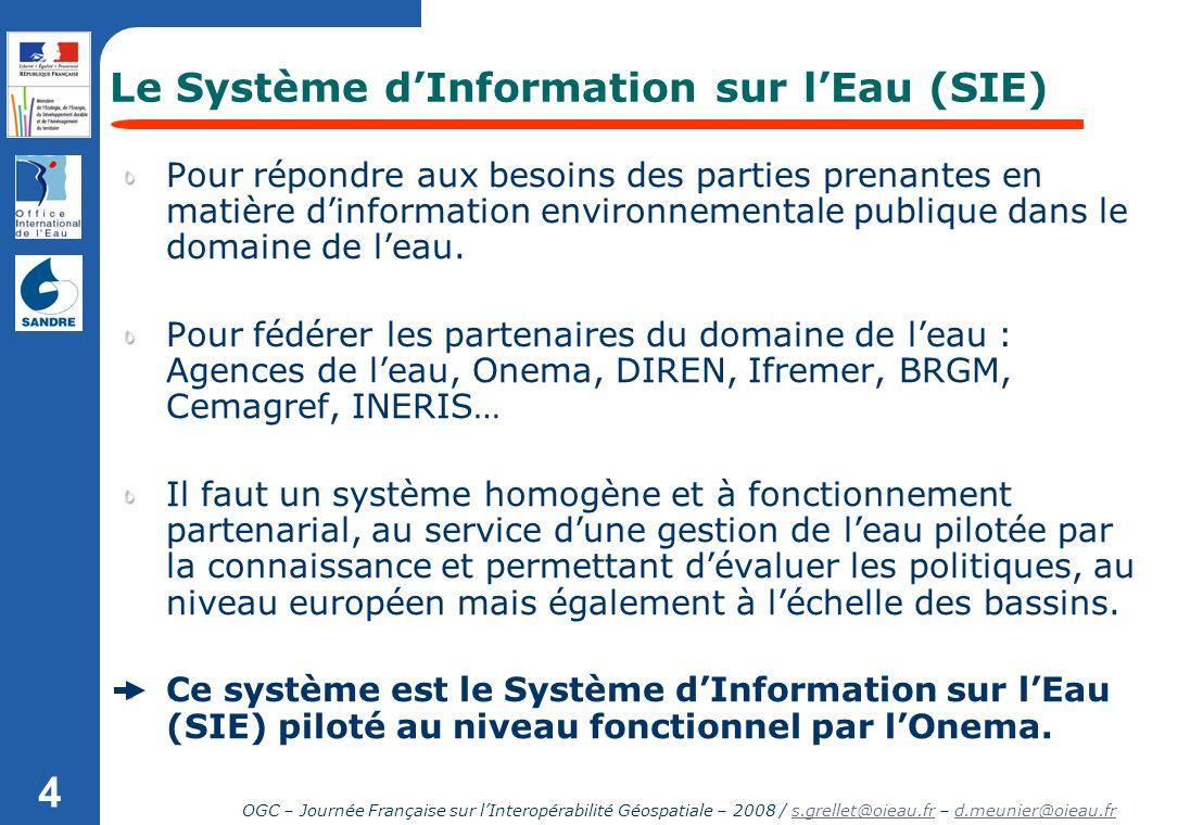 OGC – Journée Française sur lInteropérabilité Géospatiale – 2008 / s.grellet@oieau.fr – d.meunier@oieau.frs.grellet@oieau.frd.meunier@oieau.fr 4 Le Sy