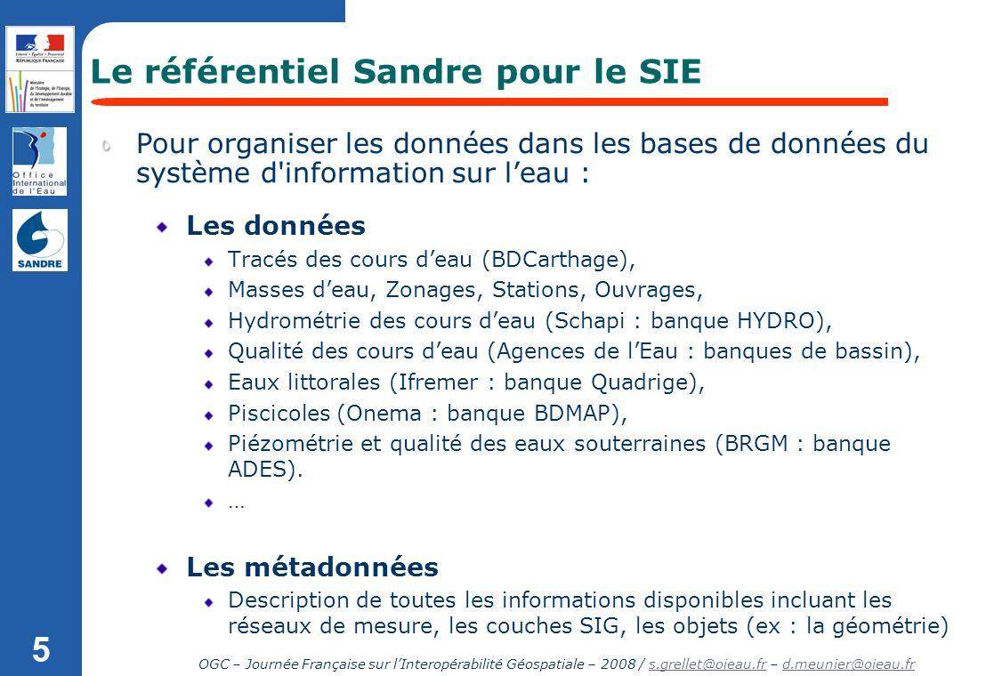 OGC – Journée Française sur lInteropérabilité Géospatiale – 2008 / s.grellet@oieau.fr – d.meunier@oieau.frs.grellet@oieau.frd.meunier@oieau.fr 5 Les d
