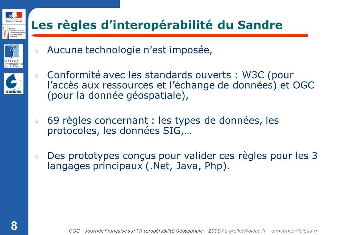 OGC – Journée Française sur lInteropérabilité Géospatiale – 2008 / s.grellet@oieau.fr – d.meunier@oieau.frs.grellet@oieau.frd.meunier@oieau.fr 8 Aucun