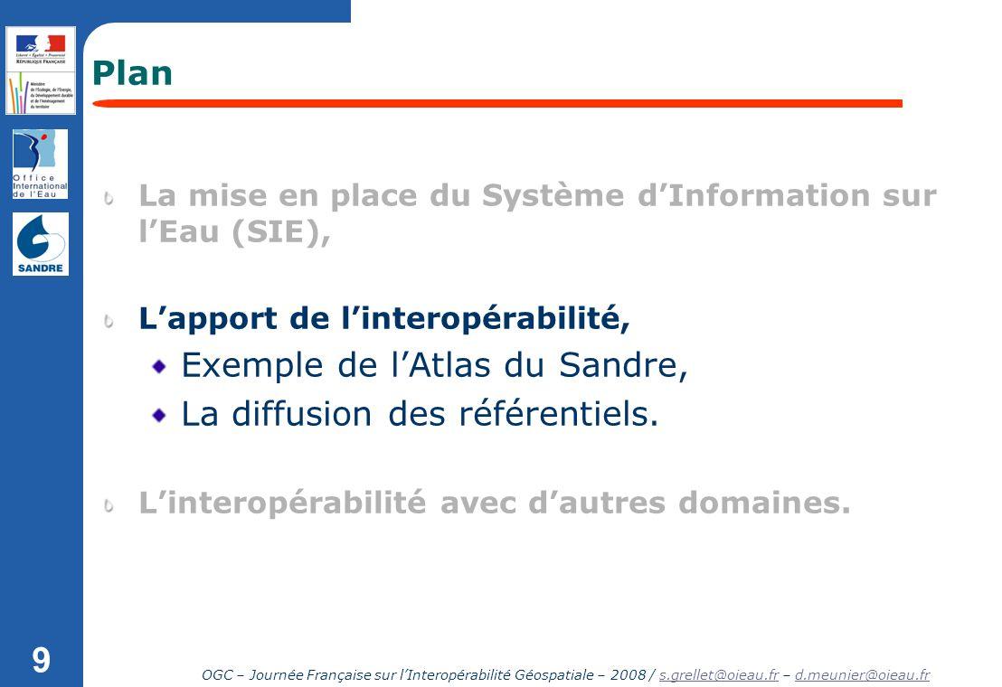 OGC – Journée Française sur lInteropérabilité Géospatiale – 2008 / s.grellet@oieau.fr – d.meunier@oieau.frs.grellet@oieau.frd.meunier@oieau.fr 9 Plan
