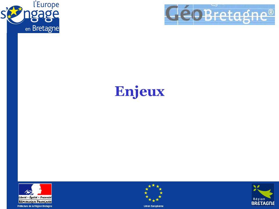 Préfecture de la Région Bretagne Union Européenne Assurer linteropérabilité avec les portails existants, notamment Géoportail En complémentarité avec linfrastructure géomatique développée par le MEEDDAT autour de Cartélie et Adélie.