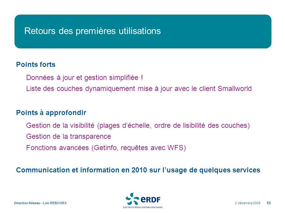 2 décembre 2009Direction Réseau - Loïc REBOURS 10 Retours des premières utilisations Points forts Données à jour et gestion simplifiée ! Liste des cou