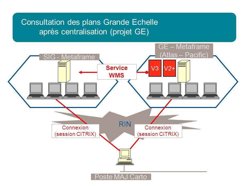 2 décembre 2009Direction Réseau - Loïc REBOURS 13 Consultation des plans Grande Echelle après centralisation (projet GE) Poste MAJ Carto RIN V2+V3 Con
