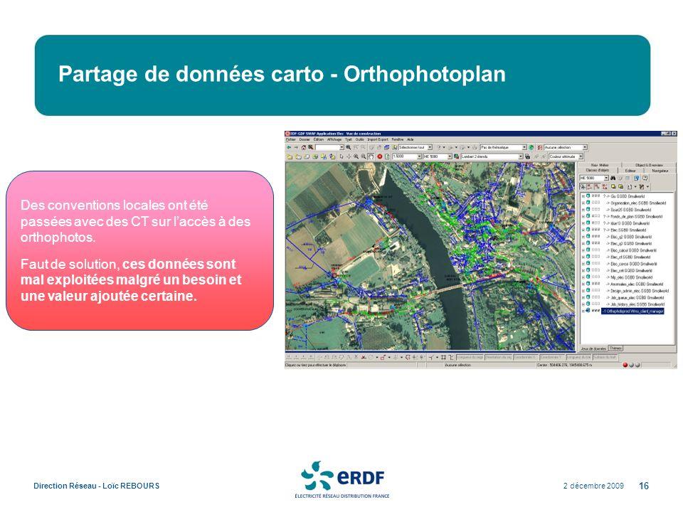2 décembre 2009Direction Réseau - Loïc REBOURS 16 Partage de données carto - Orthophotoplan Des conventions locales ont été passées avec des CT sur la