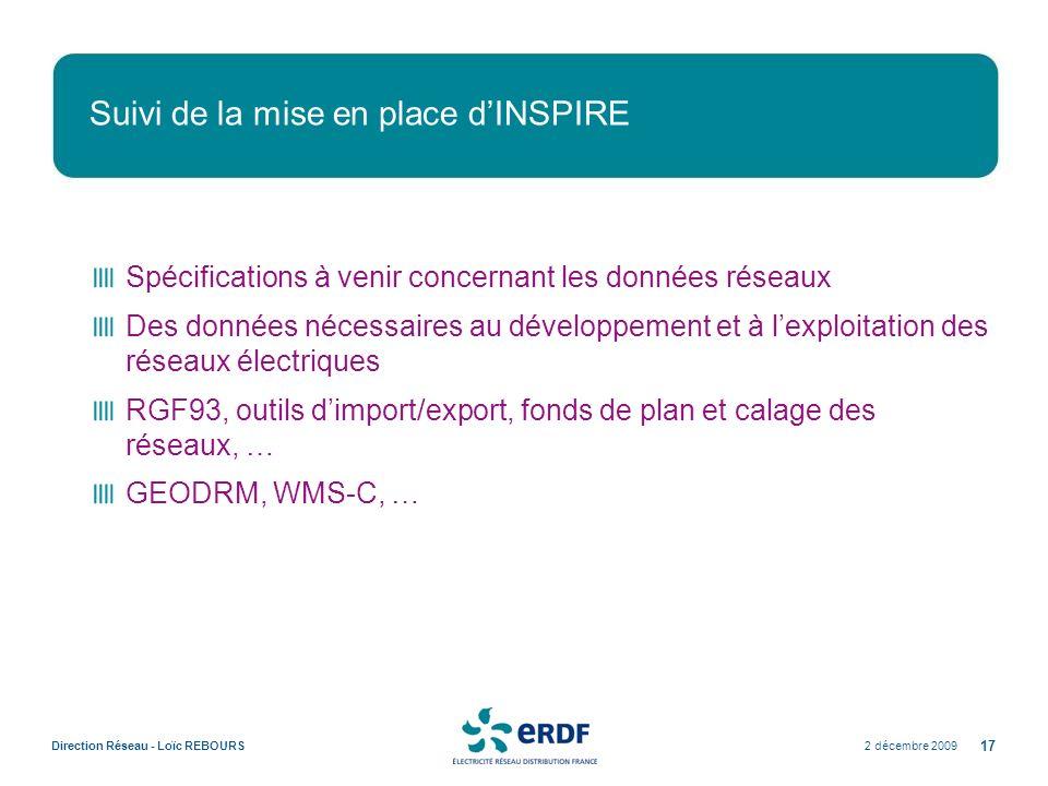 2 décembre 2009Direction Réseau - Loïc REBOURS 17 Suivi de la mise en place dINSPIRE Spécifications à venir concernant les données réseaux Des données