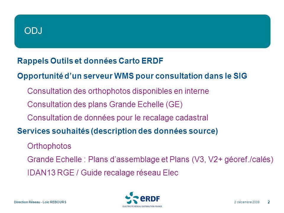 2 décembre 2009Direction Réseau - Loïc REBOURS 2 ODJ Rappels Outils et données Carto ERDF Opportunité dun serveur WMS pour consultation dans le SIG Co