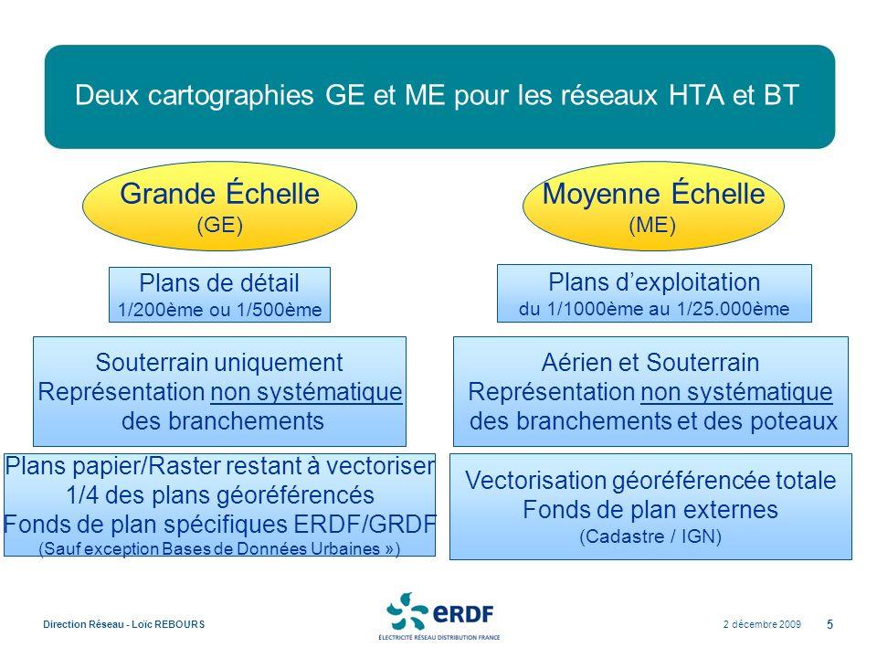 2 décembre 2009Direction Réseau - Loïc REBOURS 5 Deux cartographies GE et ME pour les réseaux HTA et BT Moyenne Échelle (ME) Plans dexploitation du 1/