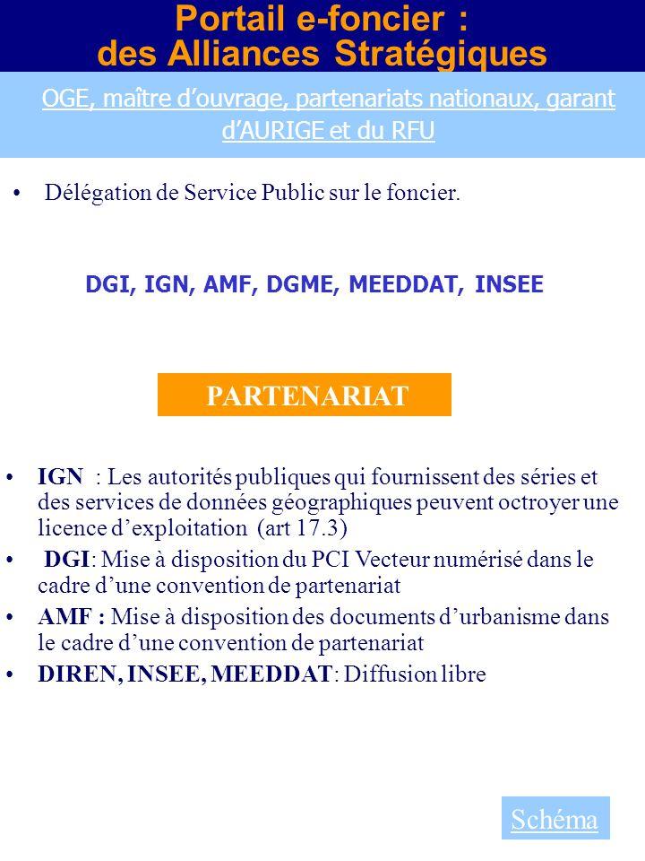 Portail e-foncier : des Alliances Stratégiques DGI, IGN, AMF, DGME, MEEDDAT, INSEE Délégation de Service Public sur le foncier. IGN : Les autorités pu