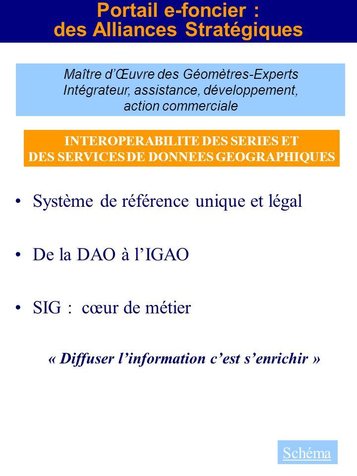 Maître dŒuvre des Géomètres-Experts Intégrateur, assistance, développement, action commerciale Portail e-foncier : des Alliances Stratégiques Système