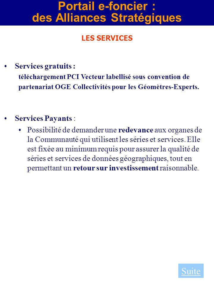 Portail e-foncier : des Alliances Stratégiques LES SERVICES Services gratuits : téléchargement PCI Vecteur labellisé sous convention de partenariat OG
