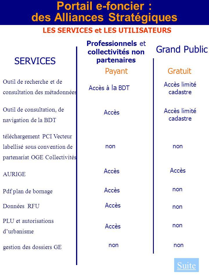 Portail e-foncier : des Alliances Stratégiques LES SERVICES et LES UTILISATEURS SERVICES Professionnels et collectivités non partenaires Grand Public