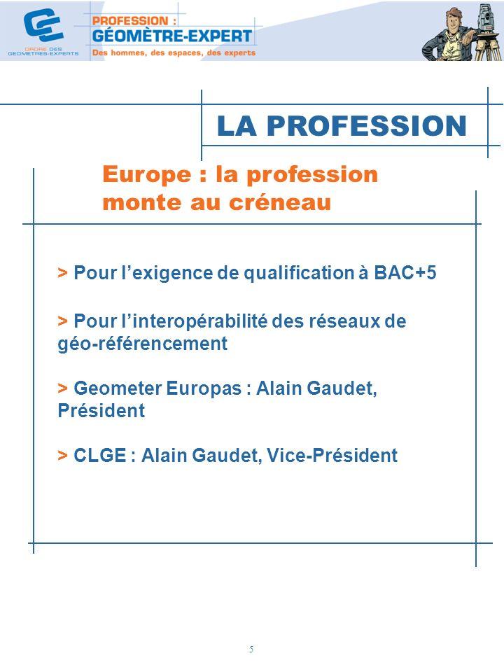 5 Europe : la profession monte au créneau > Pour lexigence de qualification à BAC+5 > Pour linteropérabilité des réseaux de géo-référencement > Geomet