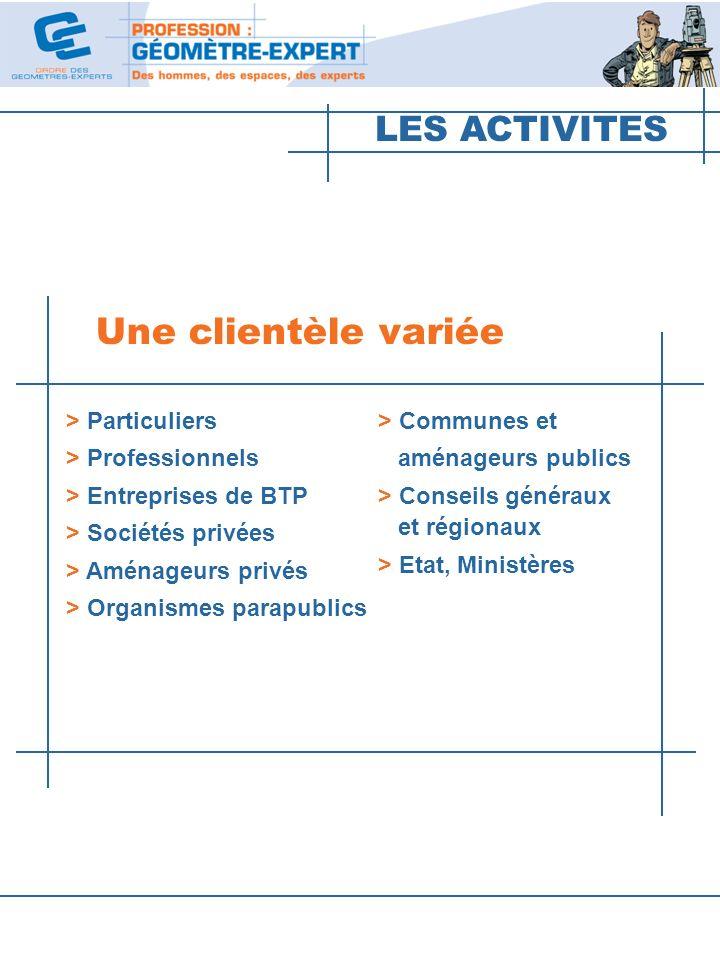 LES ACTIVITES Une clientèle variée > Particuliers > Professionnels > Entreprises de BTP > Sociétés privées > Aménageurs privés > Organismes parapublic