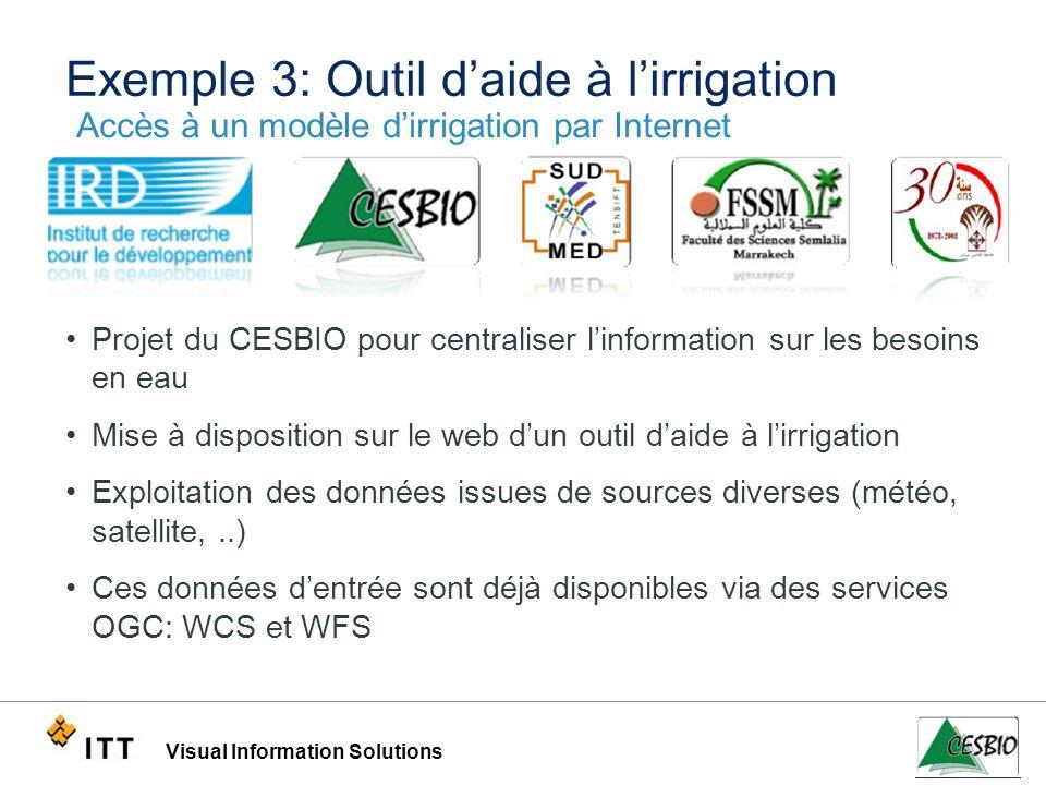 Visual Information Solutions Exemple 3: Outil daide à lirrigation Projet du CESBIO pour centraliser linformation sur les besoins en eau Mise à disposi