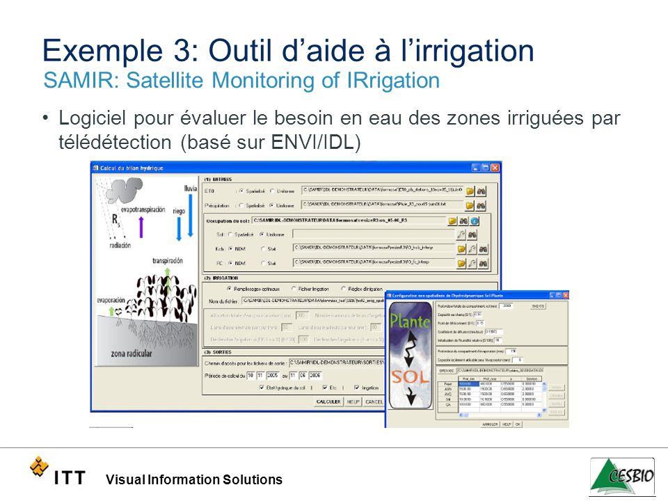 Visual Information Solutions Exemple 3: Outil daide à lirrigation SAMIR: Satellite Monitoring of IRrigation Logiciel pour évaluer le besoin en eau des