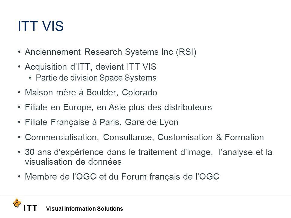 Visual Information Solutions ITT VIS Anciennement Research Systems Inc (RSI) Acquisition dITT, devient ITT VIS Partie de division Space Systems Maison