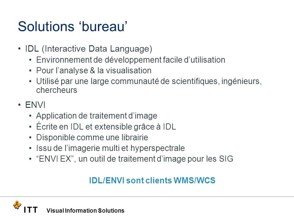 Visual Information Solutions Solutions bureau IDL (Interactive Data Language) Environnement de développement facile dutilisation Pour lanalyse & la vi