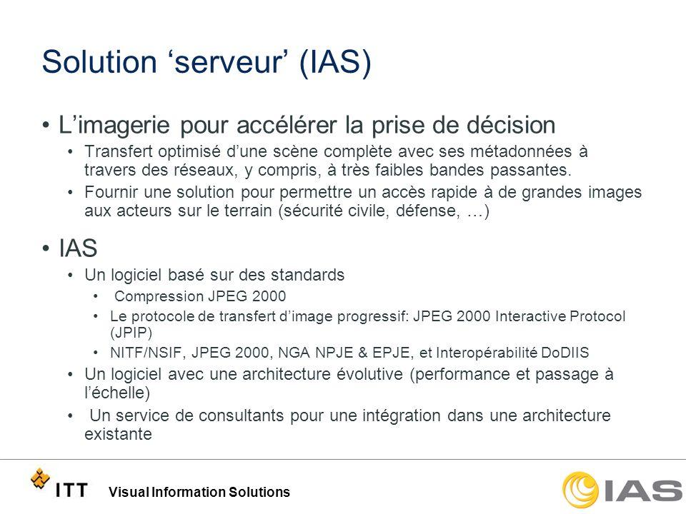 Visual Information Solutions Solution serveur (IAS) Limagerie pour accélérer la prise de décision Transfert optimisé dune scène complète avec ses méta
