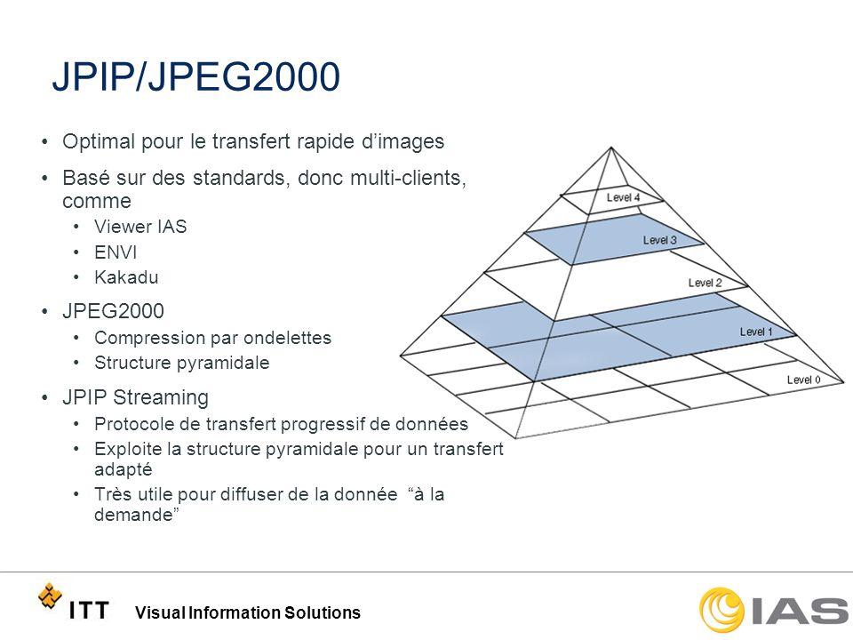 Visual Information Solutions Zoom sur une zone dintérêt Avantage du JPEG 2000/JPIP: –Image originale (JPEG) = 13.5K x 13.5K x 24 bits/pixel (530MB) –Compression JPEG 2000, compressée de 10:1 (53 MB) 1 2 3 4 5 MB Data Transfer Image affichée (999KB / 1.8%) Zoom 1 (295KB / 0.5%) Zoom sur lavion Zoom 2 (30KB / 0.06%) IAS réduit le total des données transmises à 1,324 KB (2.4%)