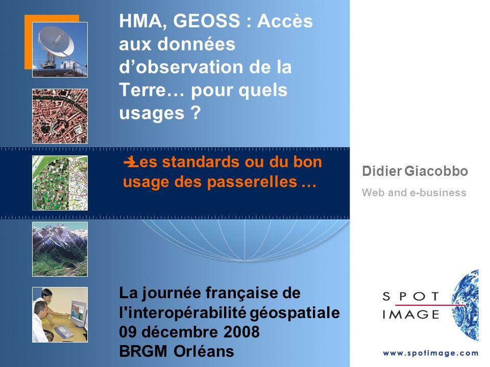 Didier Giacobbo Web and e-business La journée française de l interopérabilité géospatiale 09 décembre 2008 BRGM Orléans HMA, GEOSS : Accès aux données dobservation de la Terre… pour quels usages .