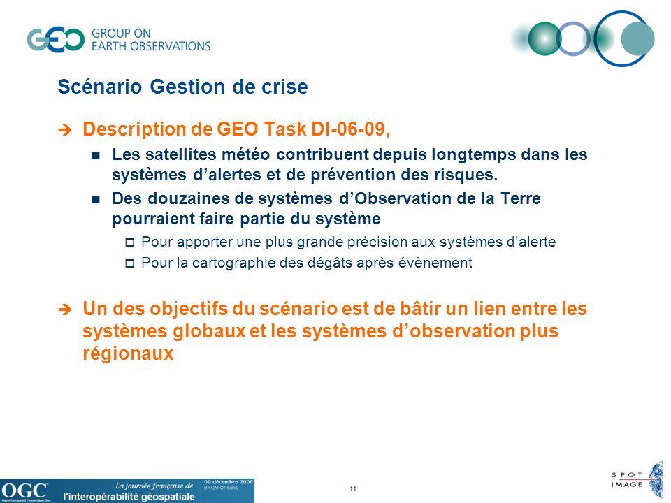 11 Scénario Gestion de crise Description de GEO Task DI-06-09, Les satellites météo contribuent depuis longtemps dans les systèmes dalertes et de prévention des risques.