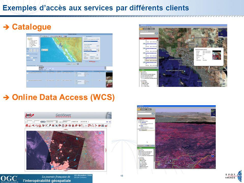 © Spot Image 2008 15 Exemples daccès aux services par différents clients Catalogue Online Data Access (WCS)